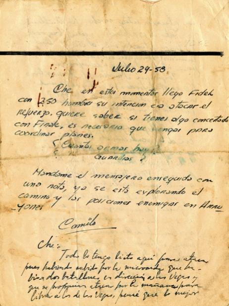 Mensaje del Comandante en Jefe al Che, escrito al pie de una nota de Camilo, con detalles de lo acontecido el 29 de julio de 1958.