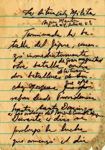 Parte trasmitido por Radio Rebelde sobre la situación militar el 29 de julio de 1958.