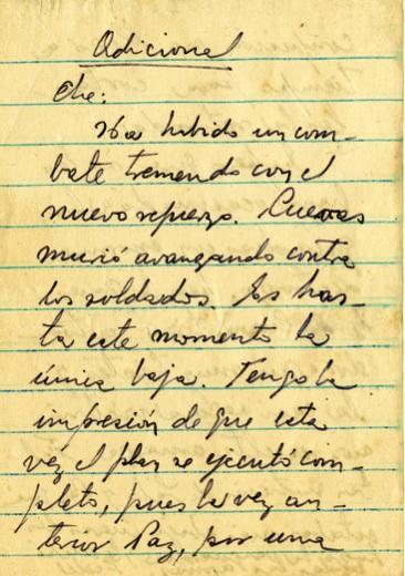 Mensaje de Fidel al Che donde le habla de la caída en combate del capitán Andrés Cuevas, 16 de julio de 1958.