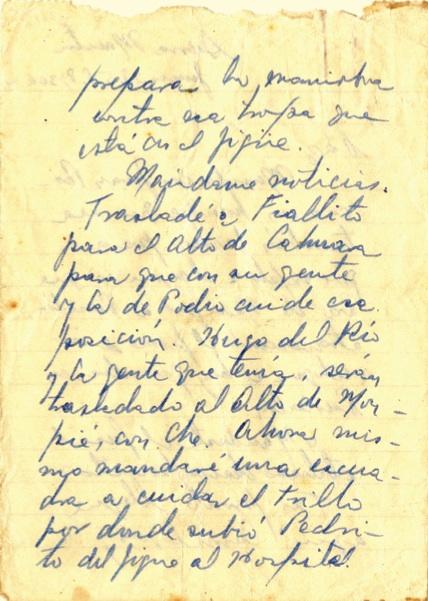 Mensaje del Comandante Fidel Castro al capitán Ramón Paz, en que le comunica las posiciones más actualizadas de las fuerzas rebeldes en varios puntos, y le cursa instrucciones, 28 de junio de 1958 (8:30 am). (2-3)