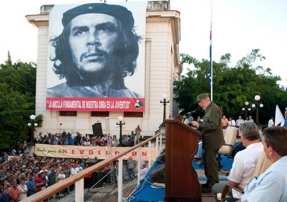 Fidel Castro en la Universidad de La Habana. Foto: Roberto Chile
