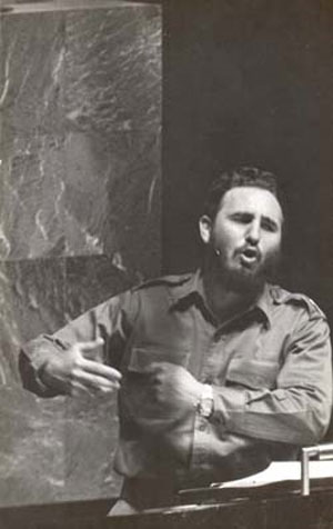 Fidel en la ONU, 1960. Foto de archivo
