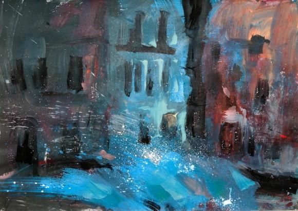 "Kamyl: ""Havana in blue"" (acrílico sobre cartulina, 70x100 cm). 2004"