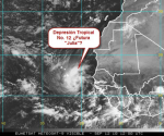 Imagen satélite METEOSAT de la mañana del domingo. La nueva Depresión Tropical No. 12 formada cerca de África.