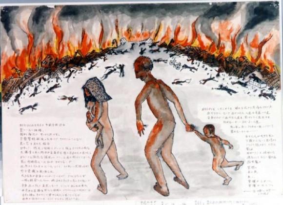 Ishizu Kashuhiro-37-Una familia con el cuerpo quemado abandona la ciudad