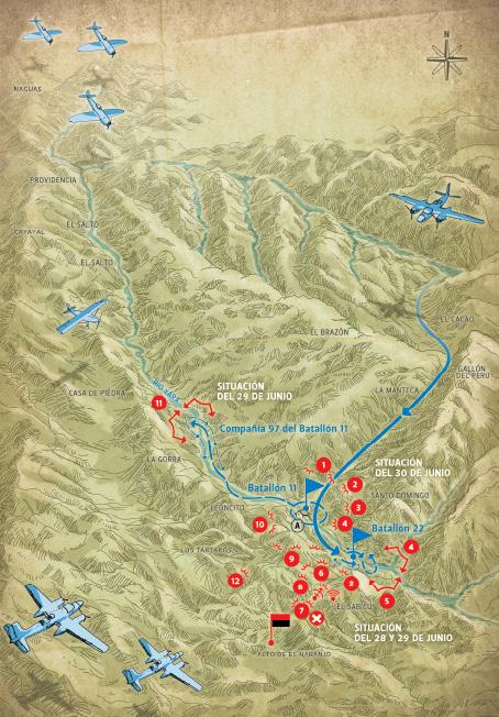 La primera Batalla de Santo Domingo 28, 29 y 30 de junio de 1958 Combates en Pueblo Nuevo y Casa de Piedra, importantes victorias de la guerrilla.