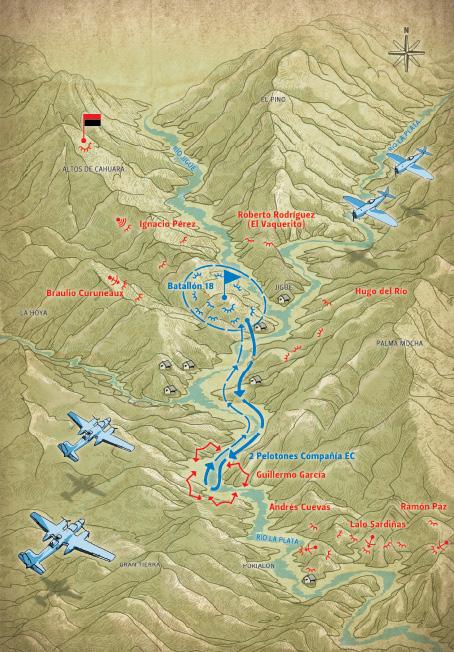 Batalla de Jigüe 14 de julio de 1958. Se cierra el cerco al Batallón 18, combate en el río La Plata.