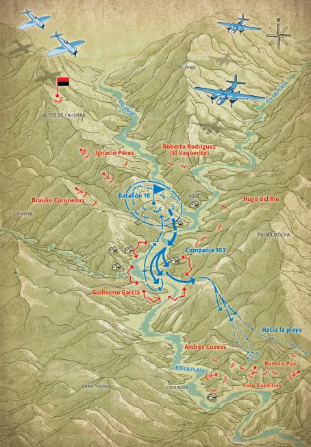 Batalla de Jigüe 17 de julio de 1958. Combate en Purialón contra el primer refuerzo procedente de la playa. Notable victoria rebelde.
