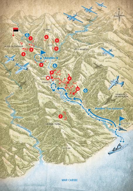 Batalla de Jigüe 19 de julio de 1958. Intenso combate en Purialón contra el segundo refuerzo enemigo. Duró más de tres horas.
