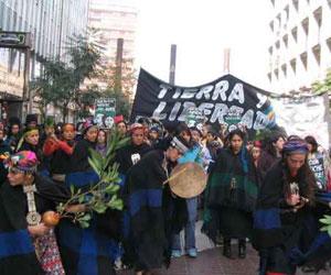 Huelga para la libertad de los presos políticos Mapuches. Foto de archivo