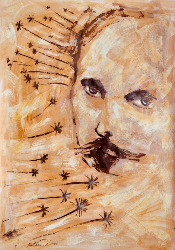 "Kamyl: ""Martí con palmas (acrílico sobre cartulina, 100x70 cm). 2010"