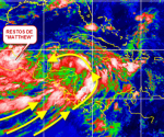 """ÁREA BAJO SOSPECHA: Obsérvese en esta imagen de satélite de hoy domingo en la mañana a los restos de """"Matthew"""" en el Itsmo de Tehuantepec,porción oriental de México, y la amplia zona de giro ciclónico con gran arrastres de nubosidad y humedad desde el Pacífico, con mayor elongación en el Caribe occidental, próximo a la costa de Nicaragua. Ahí pudiera formarse un ciclón tropical durante los primeros días de esta semana que comienza."""