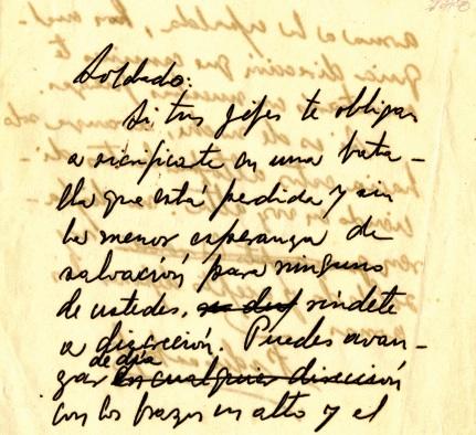 Mensaje de Fidel a los soldados del Batallón 18, donde los conmina a una honorable rendición.