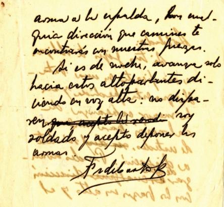 Mensaje de Fidel a los soldados del Batallón 18, donde los conmina a una honorable rendición. (2 de 2)