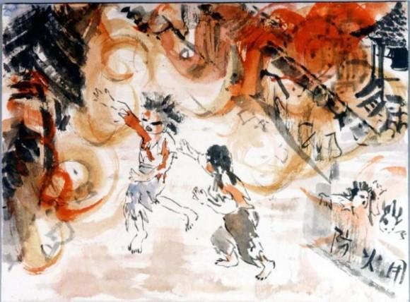 Michitsuji Josiko-20-Gente sale de sus casas envueltos en llamas