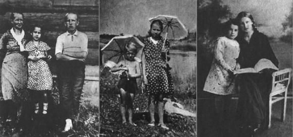 Tanya con su familia, antes del sitio de Leningrado