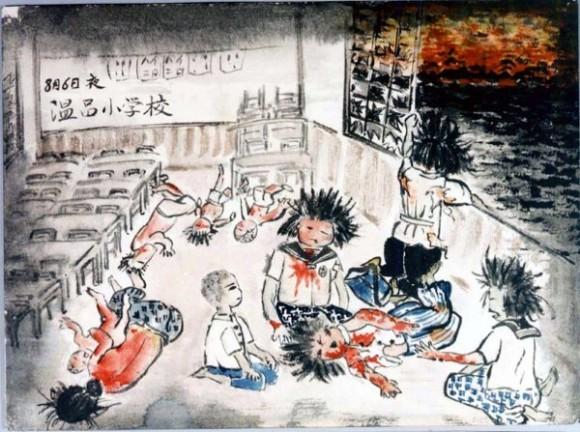 Takeda Hatsue-15-Estudiantes de la escuela femenina rodeadas de cadáveres de compañeras, observan por la ventana Hiroshima envuelta en llamas.