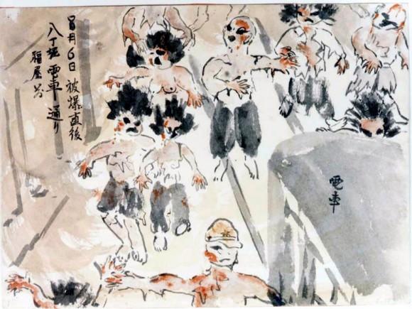 Takeda Hatsue-15- gente quemada y con el cabello aun ardiendo corre despavorida por la calle