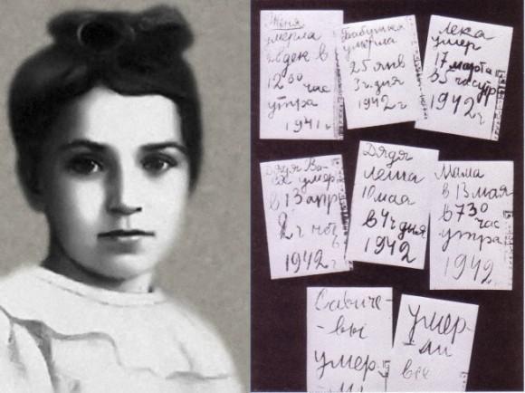 Retrato de Tanya Sávicheva y las nueve hojas de su insólito diario
