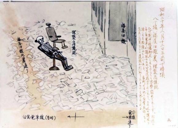 Yamabe Shoji-42-ruinas de una barbería con un esqueleto aun en la silla