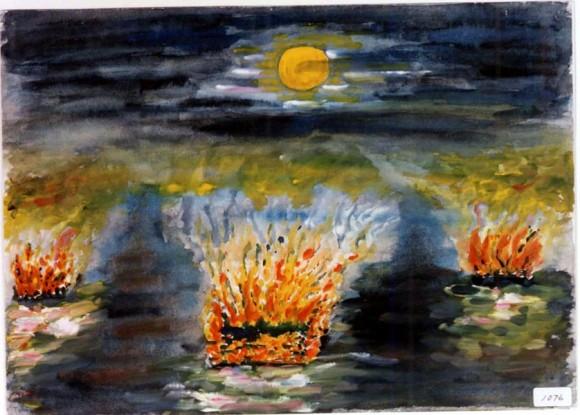 Yokohama Yoshihisa-32-Esa misma noche en la ribera del río, cientos de hogueras que  no eran mas que cadáveres aun en llamas