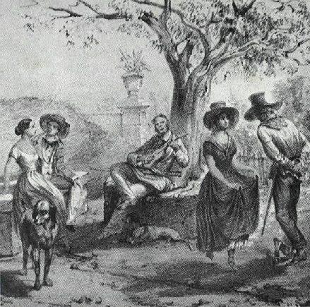 En la litografía, titulada El Zapateado, Mialhe retrata tal expresión bailable de la música campesina nacional y deja ver a los típicos guajiros con sus trajes tradicionales.