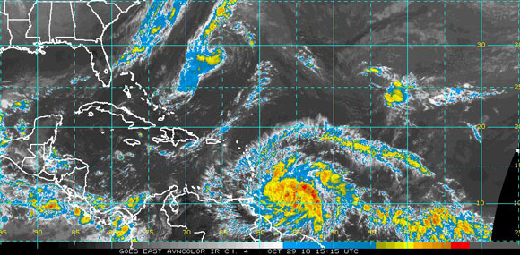 Imagen del Satélite Infrarrojo del Atlántico Tropical (NOAA)