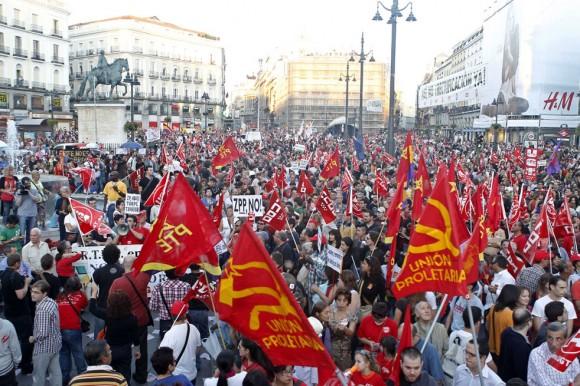 La Huelga General en la Puerta del Sol, España