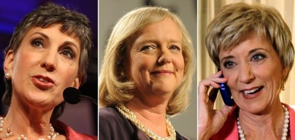 Carly Fiorina, Meg Whitman y Linda McMahon, las multimillonarias en contienda (de izq. a der.)