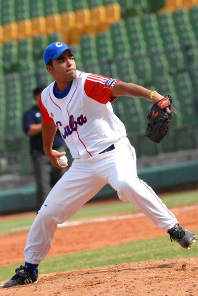 Dalier Hinojosa, tiró juego perfecto ante la selección de Hong Kong, en la XVII Copa Intercontinental de Béisbol, en el estadio Intercontinental en Taichung, Taipei de China, el 27 de octubre de 2010. AIN FOTO/Marcelino VAZQUEZ HERNANDEZ/are