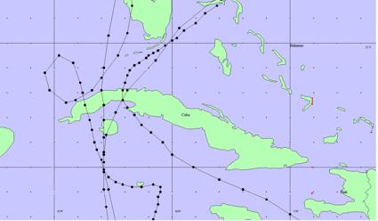 Principales huracanes de octubre cuyo centro haya cruzado el país. De izquierda a derecha: el de los 5 días con la recurva en lazo, el de 1944, 1926 y 1870. Los huracanes anteriores a 1851 no se le conocen sus trayectorias completas.
