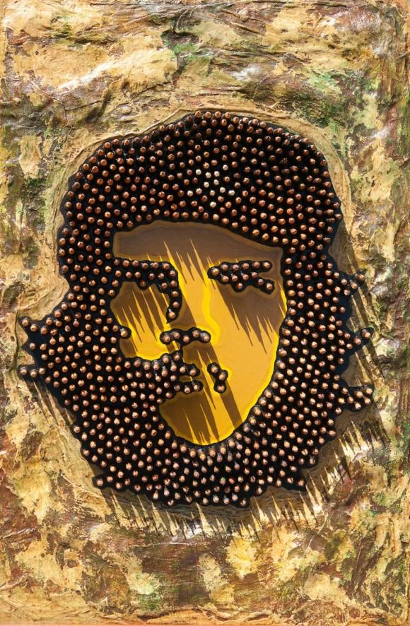Iván Raúl Basso: Hombre nuevo. Técnica mixta sobre madera, 98 x 68 cm, 2010.