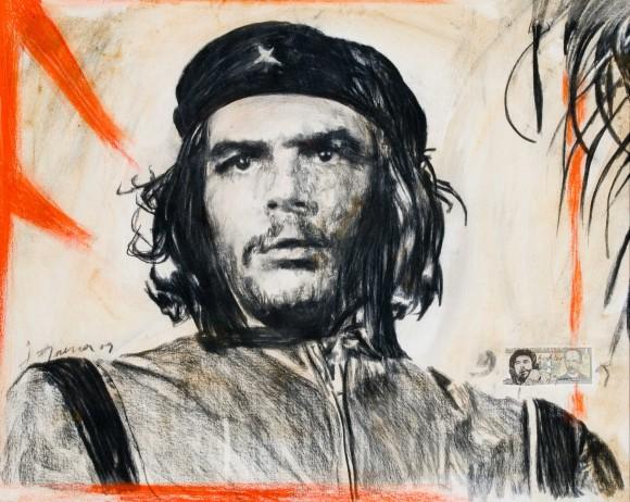 "Javier Guerra, de la serie ""Hasta Siempre"". Técnica mixta sobre tela 120 x100 cm, 2009."