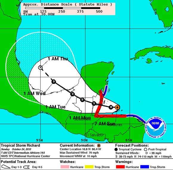Proyección de Trayectoria de Richard para los próximos 5 días (NOAA)