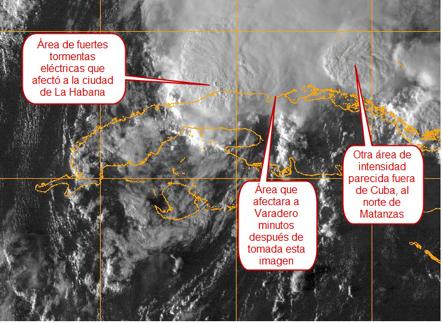 Imagen del satélite GOES en el espectro visible a las 5:45 PM del 14 de octubre. No se observa aquí  la región central pobremente definida de la debilitada y ahora tormenta tropical PAULA, pero sí el área de fuertes tormentas eléctricas que afectó durante una hora y media a la ciudad de La Habana.
