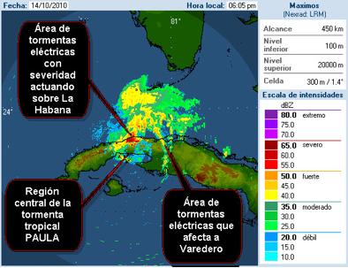 Imagen del radar meteorológico de Casa Blanca el 14 de octubre a las 6:05 PM. Se observa la región central de la tormenta tropical PAULA sobre la porción suroeste de la provincia y una amplia área de tormentas eléctricas con severidad. La ciudad de La Habana aparece en rojo como ecos fijos. Otra área de tormentas fuertes, asociado a una línea, se observa a la misma hora sobre Varadero y la provincia de Matanzas.