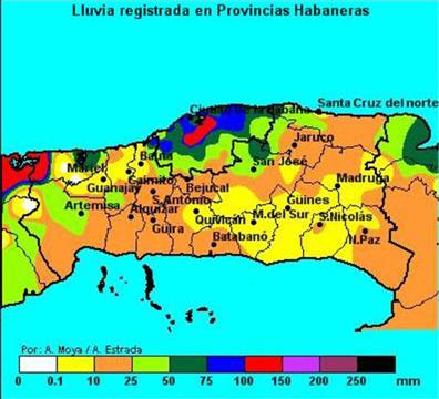 Lluvia registrada desde las 8 AM del día 14 a las 8 AM del día 15 en la red de pluviómetros del Instituto Nacional de Recursos Hidráulicos y en la red de estaciones meteorológicas del Instituto de Meteorología. Obsérvese en rojo la lluvia más intensa asociada a PAULA (de 100 a 150 mm) que cayó en la ciudad de La Habana y en la porción nordeste de la provincia de Pinar del Río. Véase la escala de colores para más detalles.