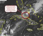 Imagen del satélite GOES a las 2:45 PM (hora de verano de Cuba) del día 15 de octubre. PAULA se convirtió en una amplia zona de bajas presiones ya absorbida por un frente frío.