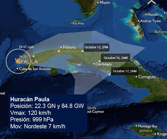 Pronóstico del recorrido del Huracán Paula