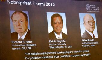 Heck, Ei-ichi Negishi y Suzuki, ganadores del Nobel de Química por sus estudios en enlaces de carbono-carbono. (Foto: Efe)