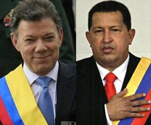 Juan Manuel Santos, presidente de Colombia, Hugo Chávez, presidente de Venezuela