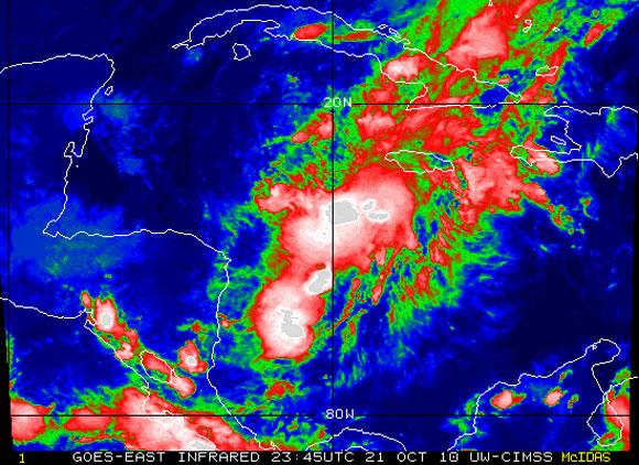 Imagen del satélite infrarrojo