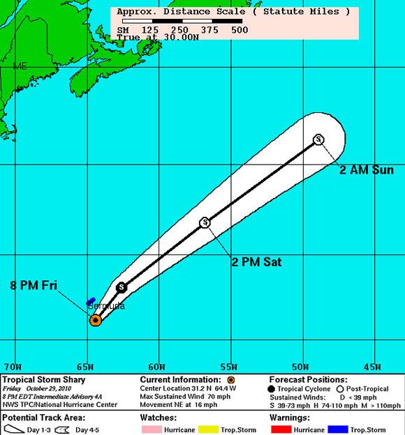 Pronóstico de Trayectoria, Tormenta Tropical Shary (NOAA)