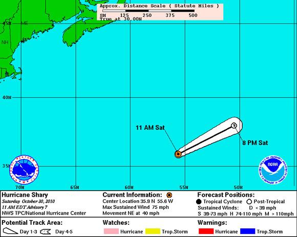 Mapa de Trayectoria, Huracán Shary (NOAA)