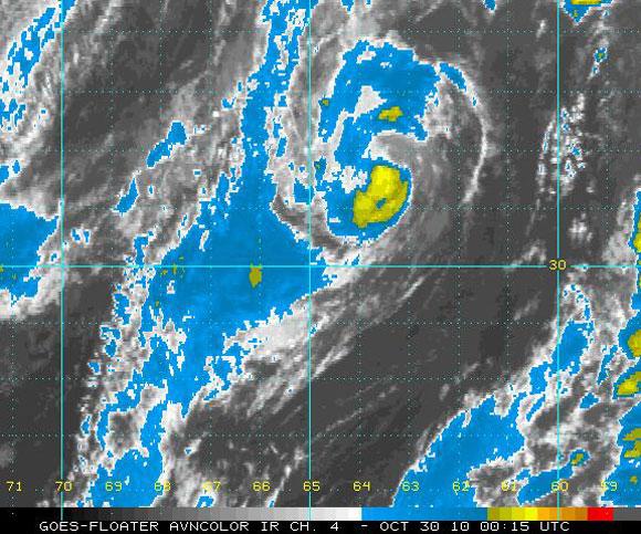 Imagen del satélite infrarrojo, Tormenta Tropical Shary (NOAA)