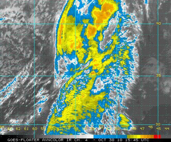 Imagen del satélite infrarrojo, Huracán Shary (NOAA)