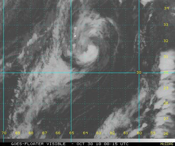 Imagen visible del satélite, Tormenta Tropical Shary (NOAA)
