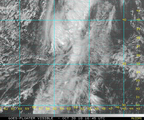 Imagen visible del satélite, Huracán Shary (NOAA)