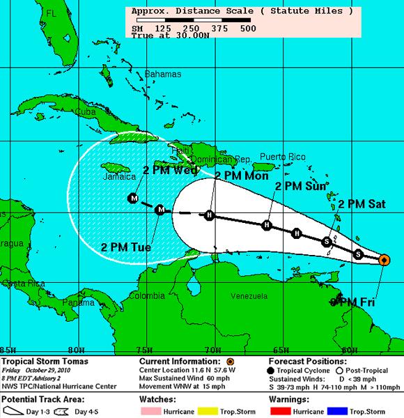 Pronóstico de trayectoria, Tormenta Tropica Tomas (NOAA)