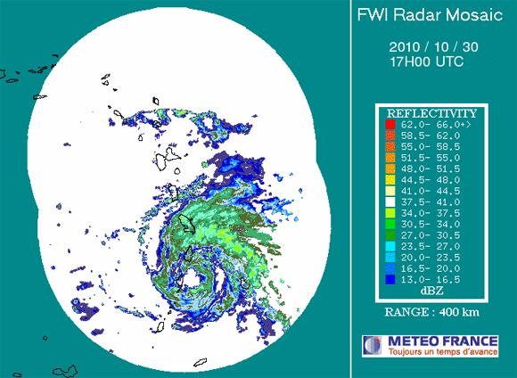 Imagen de radar en las Antillas, Huracán Tomas